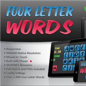 four letter words html5 word game bitwise creative